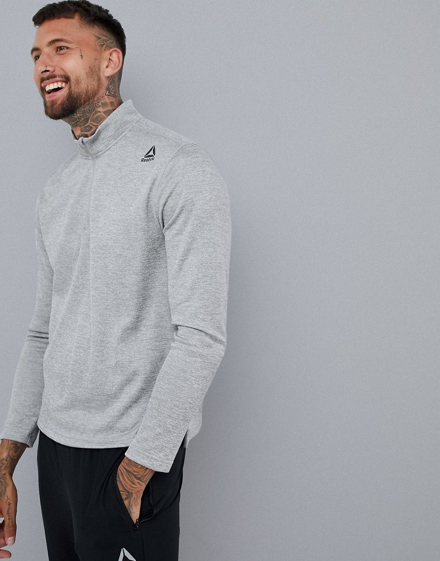 reebok herren training graues sweatshirt aus doppelstrick mit mittellangem rei verschluss 7241236. Black Bedroom Furniture Sets. Home Design Ideas