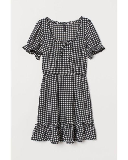 H & M Damen Kurzes Kleid In Schwarz 262963