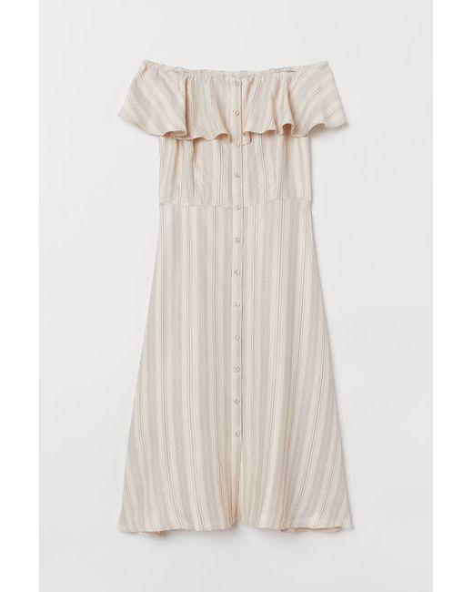 Damen Off Shoulder Kleid in Weiß