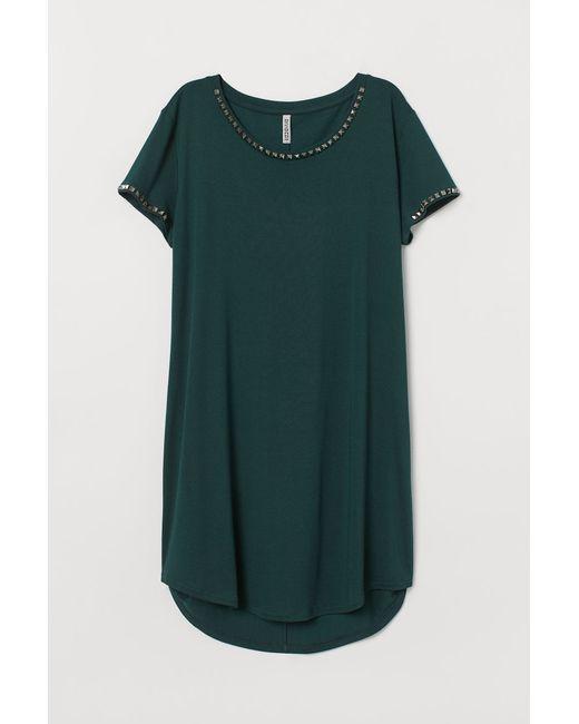 H & M Damen T-Shirt-Kleid Mit Nieten